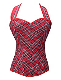 LYZ Red Elegant Women Girl Plaid Style Lace Up Bustier Corset Lingerie Costume