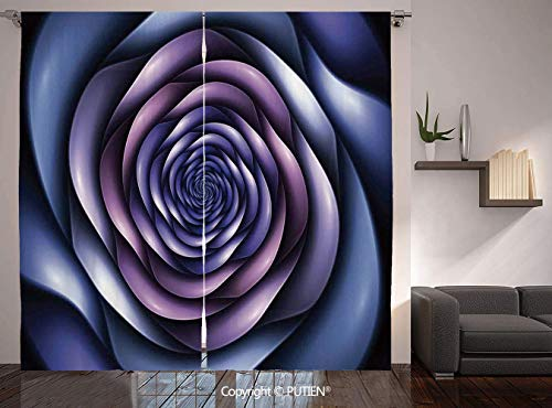 Thermal Insulated Blackout Window Curtain [ Spires Decor,Authentic Rose Petals Flower Shaped Spiral Hazy Lines New Futurist Design,Violet Purple ] for Living Room Bedroom Dorm Room Classroom Kitchen - Petal Cottage New Rose