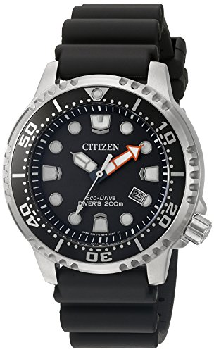 Citizen Men's'Promaster Diver' Quartz Stainless Steel and Polyurethane Diving Watch, Color:Black (Model: BN0150-28E)