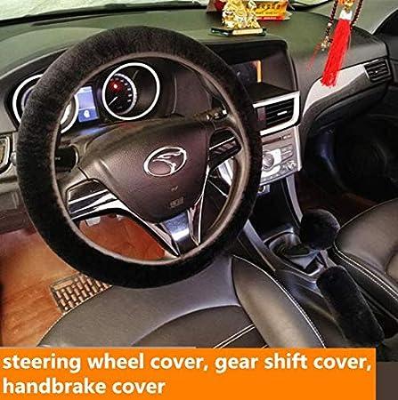 Antideslizante Caliente Comodo Universal 37-39cm Cubierta de Volante de felpa Invierno,3pcs Funda de Volante Portecdor rojo