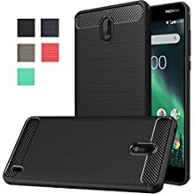 Nokia 2 Case, Dretal Carbon Fiber Shock Resistant Brusd Texture Soft TPU Phone case Anti-fingerprint Flexible Full-body Protective Cover For Nokia 2 (Black)