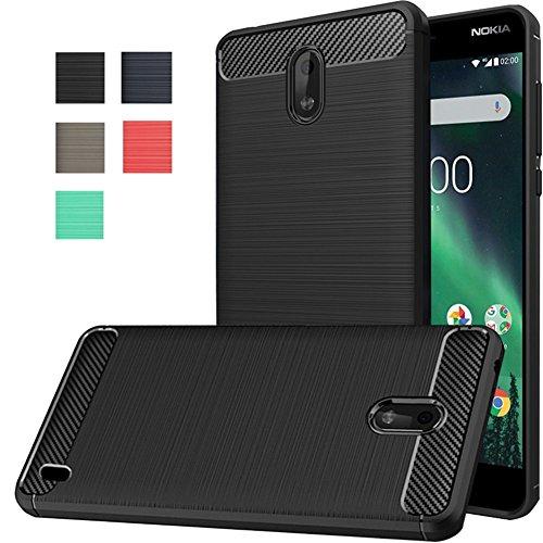 Nokia 2 Case, Dretal Carbon Fiber Shock Resistant Brusd Texture Soft TPU Phone case Anti-Fingerprint Flexible Full-Body Protective Cover Nokia 2 (Black)
