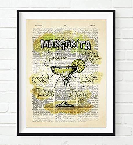 Margarita Cocktail Drink Recipe ART PRINT, UNFRAMED, Bar