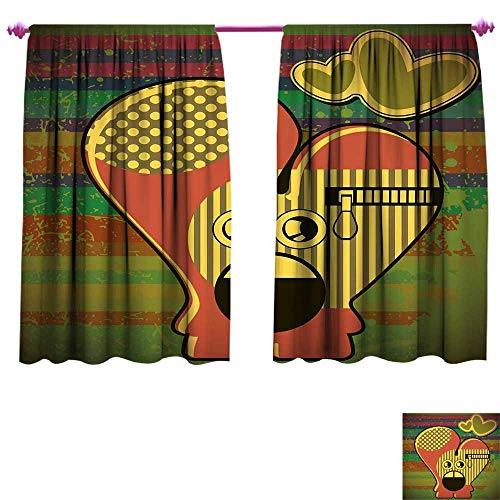 Modern Room Darkening Wide Curtains Cute Monster on Grunge Striped Backdrop with Zipped Head Heart Graphic Waterproof Window Curtain W72 x L63 Yellow Coral Olive - Heart Head Seminole