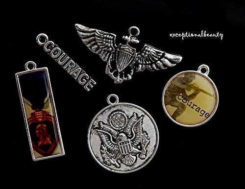 - Charm Set Military Themed Army Navy Courage Marines Air Force Blue Moon Charms