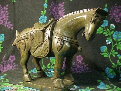 Jade Horse Statue (Chinese Green Jade Standing Horse Statue Sculpture, About 9 Inches Long X 6 Inches Tall)