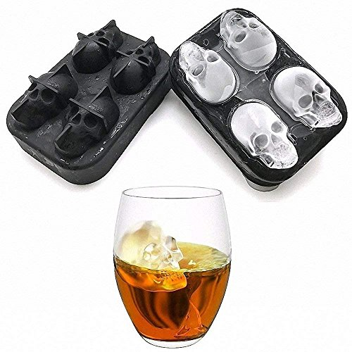 Skull Shaped Whisky Cocktail Ice Cubes Tray Silicone Mold Candy Ice Cream Mold Pudding Soap Ice Moulds Halloween gift -