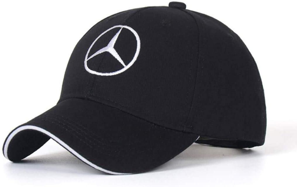 Black SUJWEL Car Logo Adjustable Baseball Cap,Unisex Hat Travel Cap Car Racing Motor Hat fits for Mercedes-Benz