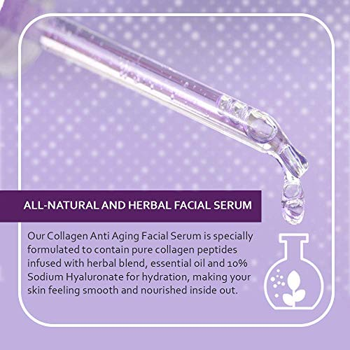 51MYp%2Bihv L - Collagen Face Serum with Peptides & Hyaluronic Acid. Skin Care, Plumps, Firms, Corrects. Anti aging Face Serum