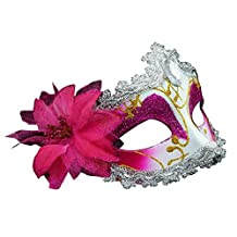 Pretty Masquerade Mask Party Mask Venetian Eye Mask with Flower, Pink