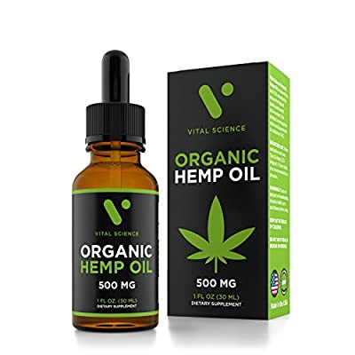 Hemp Oil for Pain & Anxiety Relief - 500mg Full Spectrum Organic Hemp Drops - Pure Hemp Extract - Natural Hemp Oils for Better Sleep, Mood & Stress - Zero THC CBD Cannabidiol - Mint Flavor from Vital Science