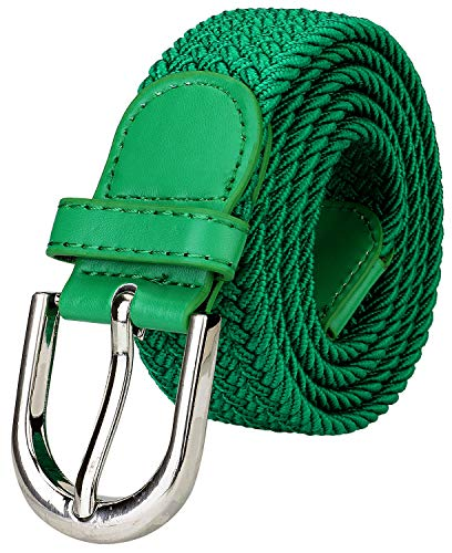 Falari Men Women Canvas Elastic Fabric Woven Stretch Braided Belt - Kelly Green-Large