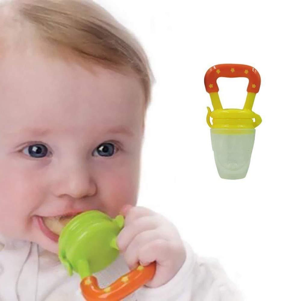 Aofocy Alimentadores del bebé Bebé Chupete de silicona Herramienta de alimentación del bebé Chupete suave para alimentos frescos Fruta Leche 2 Unids Set: ...