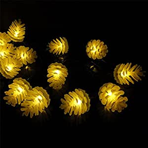Sunniemart Pine Cone 20 Led Solar Powered Outdoor