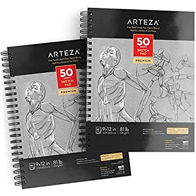 """ARTEZA 9X12"""" Gray Toned Sketch Pad, Pack of 2, 100 Sheets (80lb/120 GSM), Spiral-Bound, 50 Sheets Each, Heavyweight Acid-Free Paper, Perfect for Graphite & Colored Pencils, Chalk, Charcoal, Gel Pens,"""
