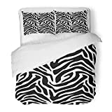 Emvency Bedding Duvet Cover Set Twin (1 Duvet Cover + 1 Pillowcase) Abstract Zebra Africa African Animal Black Clip Effect Fur Hotel Quality Wrinkle and Stain Resistant