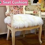 Ukeler Luxurious Sheepskin Seat Pad Long Wool Sofa Cushion Wheel Chair Pad Car Seat Covers,White,18''×18''