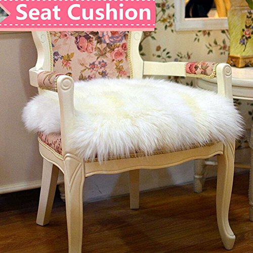 (Ukeler Luxurious Sheepskin Seat Pad Long Wool Sofa Cushion Wheel Chair Pad Car Seat Covers,White,18''×18'')