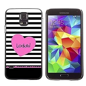 Paccase / SLIM PC / Aliminium Casa Carcasa Funda Case Cover - Heart Valentines Lines Black Pink - Samsung Galaxy S5 SM-G900