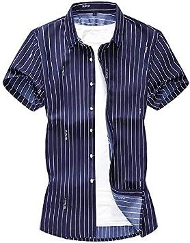 Relaxlife Camisa De Manga Corta Para Hombre Blusa De Manga Corta Hombres Tallas Grandes Camisas De Hombre A Rayas Ropa Casual Para Hombre Camisas De Vestir Para Hombre De Corte Slim Amazon Es