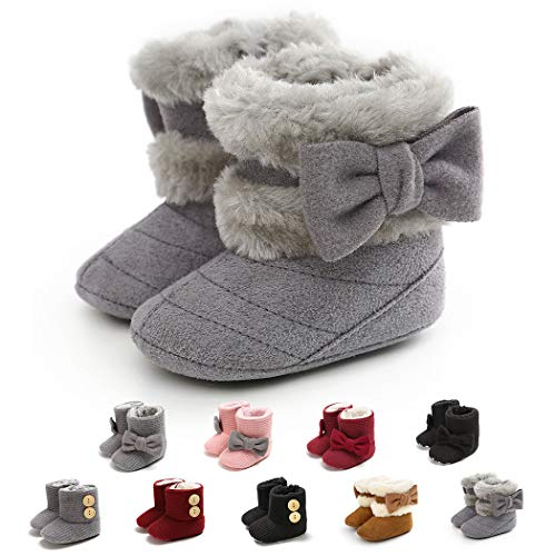 Infant Boots Winter Baby Girl Shoes Soft Sole Anti-Slip Toddler Snow Warm Prewalker Newborn Boots(6-12 Months M US Infant,A-Grey)