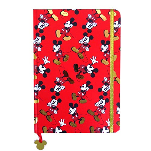 - Anker Mickey Mouse Gold A5 Notebook with Gold Strap and Charm, 160 Pages