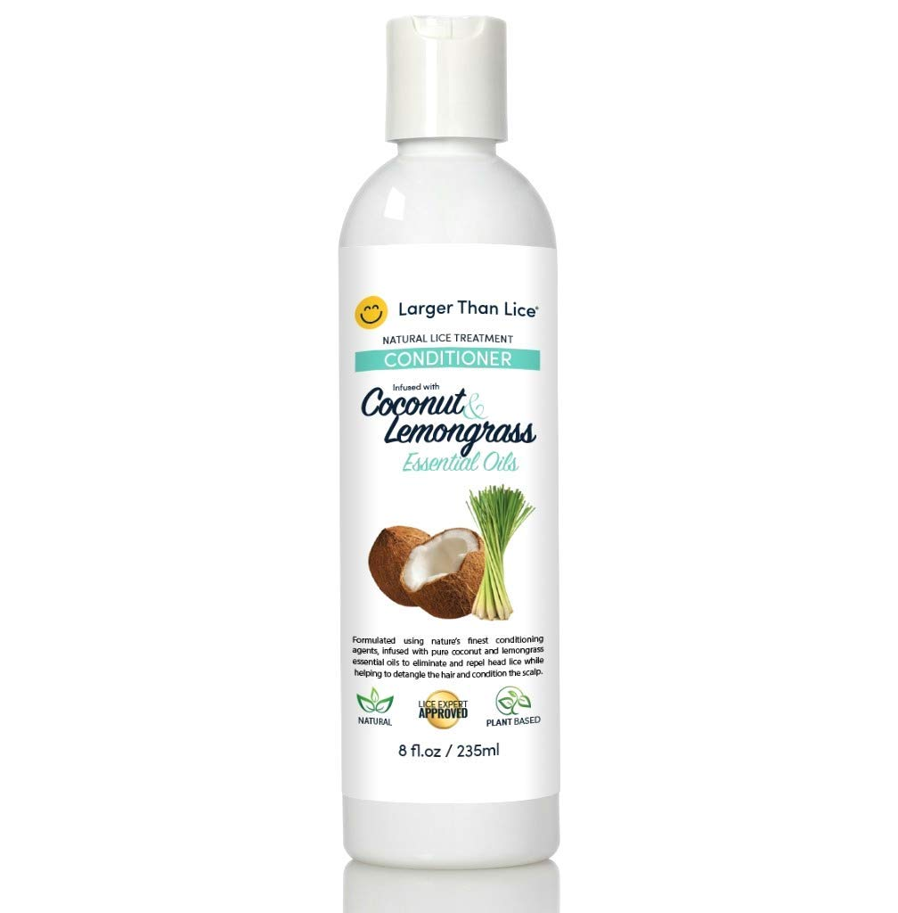 Natural Lice Treatment and Conditioner - Coconut & Lemongrass - 100% Effective After 15 Minute Application - Kill Head Lice, Nits - Safe for Kids by Larger Than Lice