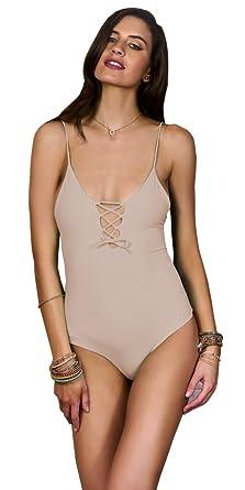 a8d80da8d056a5 MAYLANA Women's one piece swimsuit caged nude bikini criss cross bathing  suit (Large)
