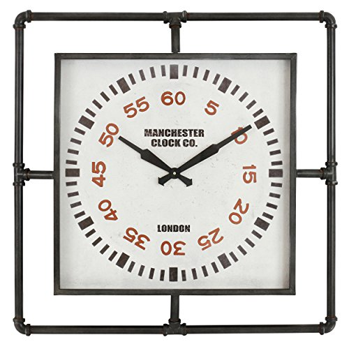 Sanford Clock - Aspire 4813 Sanford Industrial Wall Clock, Gray