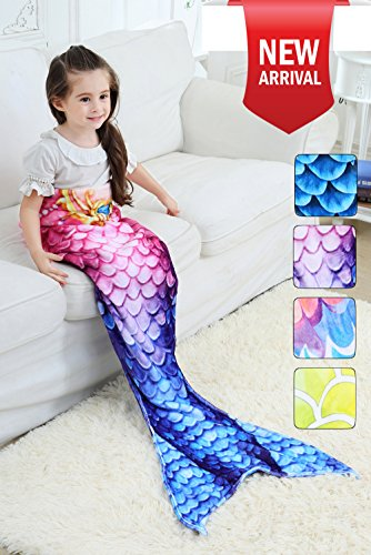 Mermaid Tail Blanket for Kids Adults Girls Women Coral Fleece Sleeping Bag Summer Air Condition Sofa Bed Towel Comforter for Indoor Home Winter Keep Warm Gifts Birthday Christmas (A-kids (Halloween On Tv)