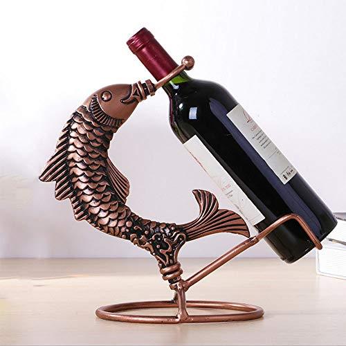 YYQX Wine Rack, Iron Art Wine Bottle Rack Retro Fish Wine Bottle Rack Beautiful Anti-Rust Anti-Oxidation Practical Home Decoration Crafts