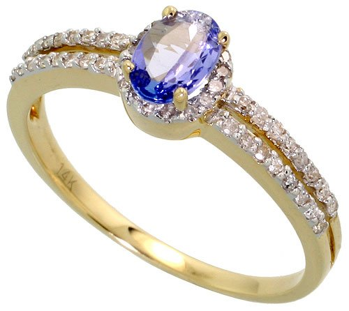 14k Gold Ring, w/ 0.67 Total Carat Brilliant Cut Diamonds & 6x4mm Oval Cut Tanzanite Stone, 1/4 in. (6mm) wide, size 7.5 ()