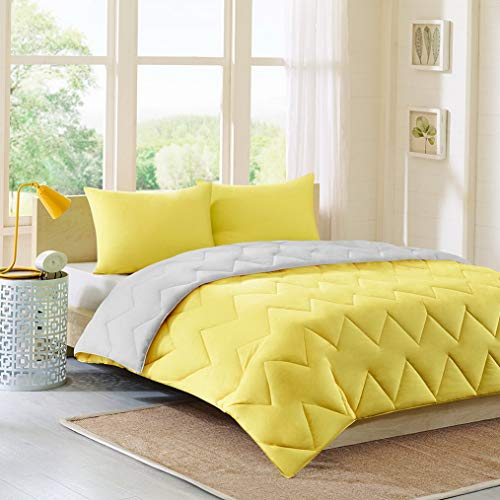 (Kaputar Modern Reversible Grey Yellow Chevron Sporty Stripe Girl Soft Comforter Set New! | Model CMFRTRSTS - 3154 |)
