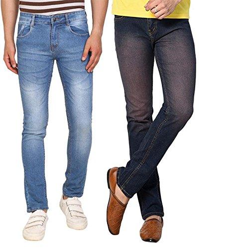 abcccaddd DRUTHERS Men s Casual Solid Plain Lycra Denim Jeans - Blue  Amazon ...