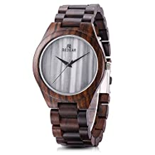REDEAR SJ14481 Wooden Watches for Mens Women with Marble Dial Analog Quartz Retro Style Wristwatch