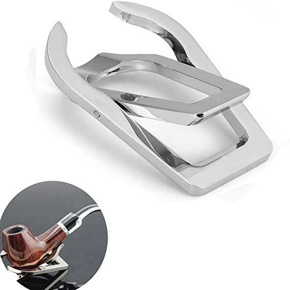 Vivian Tobacco Pipe Stand Holder - Stainless Steel Portable Foldable - For Single Pipe
