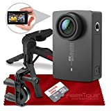 YI 4K Action and Sports Camera with EIS, Live Stream, Voice Control (Black) and 16B Card Travel Photo Accessory Bundle
