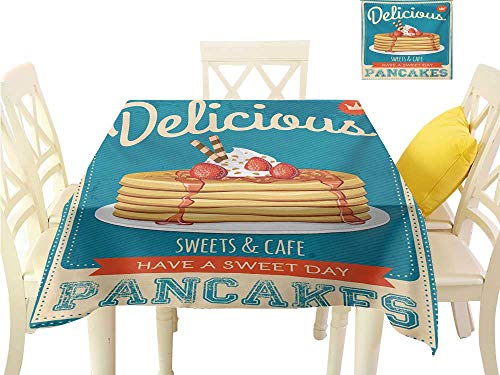 familytaste Table Cover Vintage,Delicious Pancakes with Cream and Jam Eighties Diner Flyer Design,Cream Pale Brown and Blue Tablecloth Party Wedding W 36
