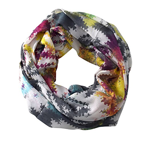 Peach Couture Funky Abstract Print Light Weight Infinity Loop Scarves Rainbow Print