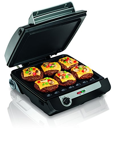 Hamilton Beach (25601) Indoor Grill & Electric Griddle Combo with Bacon Cooker, Double Cooking Surface, Removable Plates, Dishwasher Grilling Plates