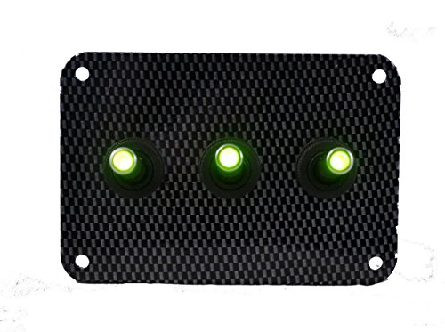 3 Hole Carbon Fiber Look Switch Plate with LED toggle switches