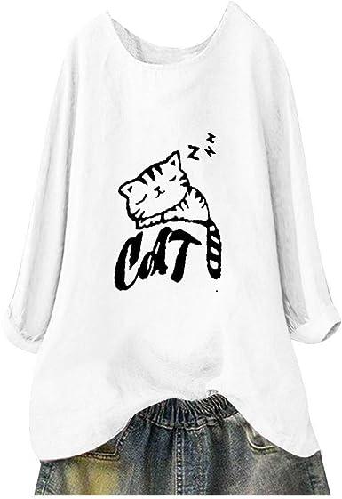 Vectry Camisa Mujer Casual Cuello Redondo Color Liso Estampado De Gato Camisa De Manga Larga Top Camisa Otoño Verano Playa Y Fiesta: Amazon.es: Ropa y accesorios