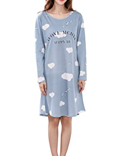 e54f6abc46 Vopmocld Big Girls Long Sleeve Nightgowns Pretty Cloud and Swallow Patterns  Sleep Dress