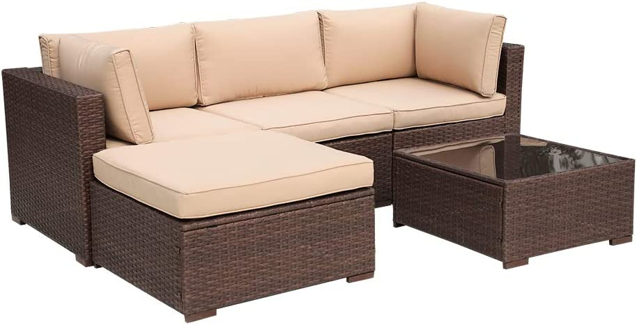 Super Patio 5 Piece Outdoor Sectional Sofa Patio Wicker Sofa with Cushions and Coffee Table