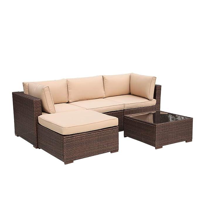 Amazon.com: Super Patio - Sofá de 5 piezas para exteriores ...