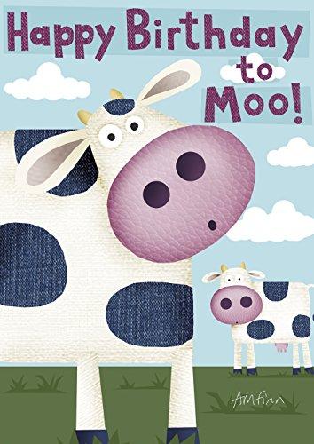 Toland Home Garden Happy Birthday Moo 12.5 x 18 Inch Decorative Cute Cow Farm Animal Kid Party Garden Flag -