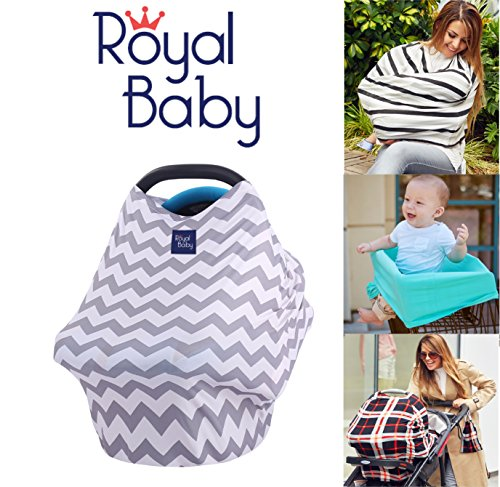 Royal Baby Car Seat Cover Multi-Use 5-1 Nursing Breastfeeding Cover Scarf BEST Stretchy Infant Carseat Canopy Infinity Shawl Carseat Covers for Girls & Boys XL RAYON GIFT BONUS Bag (Chevron)
