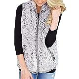 WEUIE Women Outwear Clearance Sale! Womens Vest Winter Warm Outwear Casual Faux Fur Zip Up Sherpa Jacket (XL,Gray)