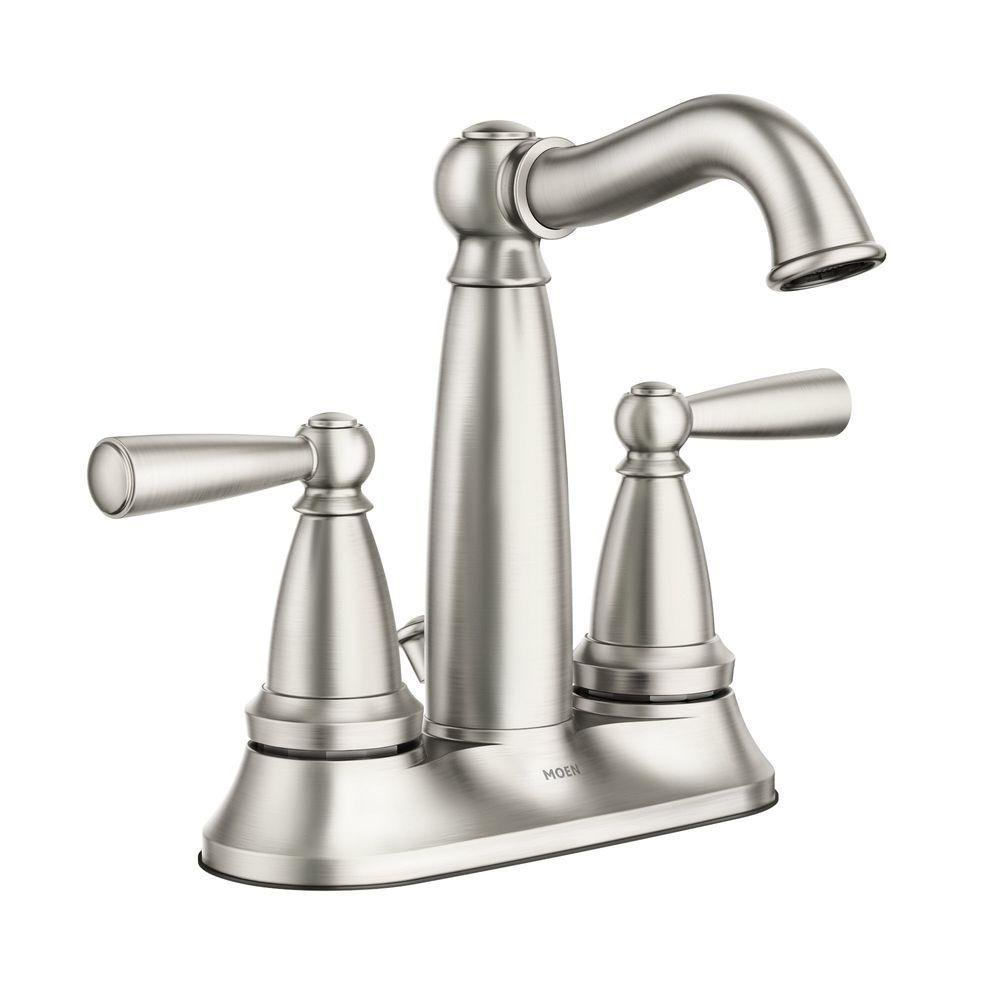 Durable Modeling Vale 4 In Centerset 2 Handle Bathroom Faucet Featuring Microban Protection In