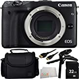 Canon EOS M3 Mirrorless Digital Camera (Body, Black) 32GB Bundle 5PC Accessory Kit. Includes 32GB Memory Card + Pistol Grip/Table Top Tripod + Mini HDMI Cable + Carrying Case + Microfiber Cleaning Cloth - International Version (No Warranty)